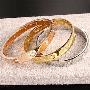 NEW Silver Gold Round Diamond Cuff Bangle Bracelet